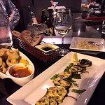 Gnocchi, calamari, stuffed clams, Pinot Grigio