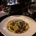 5 Mushroom Pappardelle, Pinot Grigio