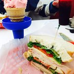 Old fashioned strawberry cone and a DIY sandwich. (Pick your own bread, meat, cheese, veggies.)