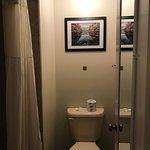 Shower and toilet in water closet/bathroom of 112B (sink in bedroom)