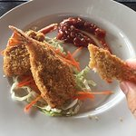 Delicious kings prawns. Tips and tax included. You can with card with no added fee