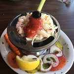 Seafood cocktail with shrimp and crabmeat.  5 oz. order and extra yummy!  This is a must-do!