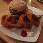 Burger + spicy onion rings