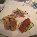 Trio fo the sea: Sea bass ceviche, Squi Tempura, Salmon Teriyaki