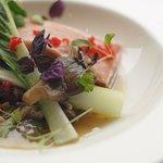Salmon, aga dashi, Japanese mushroom