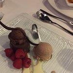 Chocolate cake with smoked ice cream