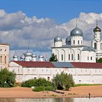 The view of St.George Monastery from the Volhov River, Novgorod, Russia