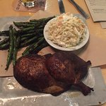 Smoked Pit Half Chicken, Blackened Green Beans and Coleslaw