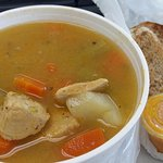 Fish broth, comes with a side of bread and pepper sauce
