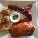 Pierogies came in very different flavors MEAT PIEROGI,POTATO & CHEESE PIEROGI,SAUERKRAUT & MUSHR
