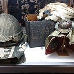 samurai armour ? NO , is fireman helmet display in theme park fireman exhibition area