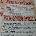 menu for ABC pizza