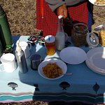 Bush breakfast prepared at the camp and unpacked by my guide