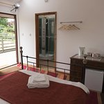 Annexe Guest Room 2: Double Ensuite with own front door, shower room, sofa, fridge, TV, desk, ke