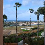View of ocean and flower fields from 2nd floor outside lobby