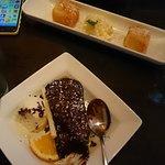 Warm chocolate cake and deep fried custard with coconut