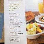 The lighter breakfast menu