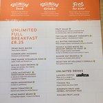 The unlimited breakfast menu