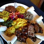 Ethiopian Love Veggie Sampler and 2 meat dishes!
