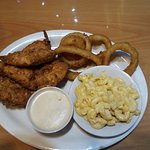 Chicken tenders, onion rings and baked mac & cheese