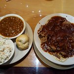 BBQ spaghetti, beans and slaw