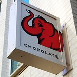 Red Elephant Chocolate street sign, it's small but you'll see it if you look!