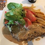 The Sunday Night $12 Steak (well done) with peppercorn sauce