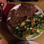 Horse steak and salad