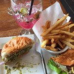 turkey burger, fries and prickly pear mojito