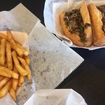 Delicious cheesesteak and fries at Little Phillies.