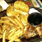 Lamb Chops with Mint Jelly and Cucumber Sauce, fries and garlic toast, also includes a salad. Gr