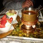 dessert as fruit&chocolate fondue