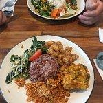 Veggies, corn fritter, honey chicken and rice