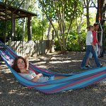 Relaxing in one of our many hammocks