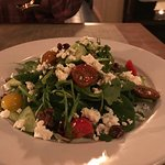 Their food never disappoints! Shared delicious Artichoke Crostini, then Greek Salad, Pasta ribbo