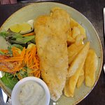 Fish chips and salad.