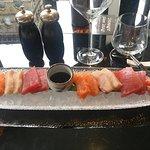 Sashimi platter and ice cream dessert