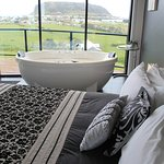 Bed, bath and view
