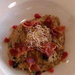 Wild Mushroom & Tomato Risotto with Crispy Bacon Crisps