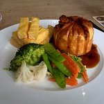 Steak and Ale pie with veg and chips