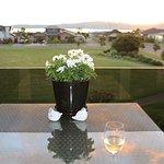 View from the breakfast area balcony towards Lake Taupo