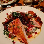 Roasted chicken with roasted carrots, pomegranate molasses, mint and farika