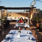 Breakfast at the top roof of the riad