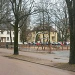 Park by famous gallery Sandgrund Lars Lerin, lovely old houses along the way