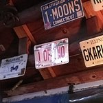 Tiki Hut license plates on the ceiling