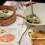 Below Average Vegetable Dumplings, Seafood Stir Fried Noodles with Fake Seafood.