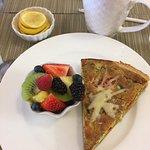 Vegetable Quiche/fruit salad, coffee