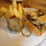 Sirloin Steak with Peppers, Mushroom, Onions and Cheddar Cheese Baguette with Chips