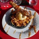 crème brûlée aux pommes et glace vanille (plus que exquis)
