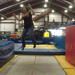 Fun Trampolines. Jump into padding, over padding, into foam pit.